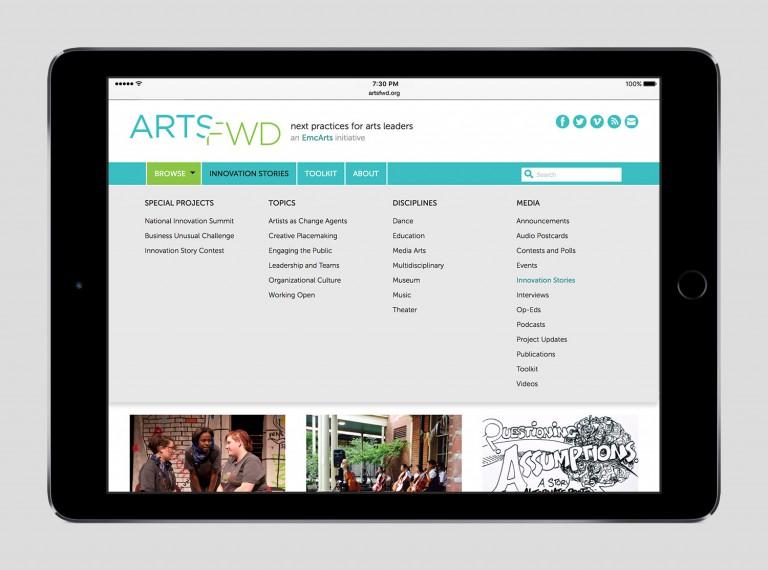 artsfwd.org tablet navigation